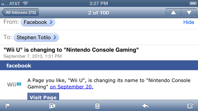 Nintendo's Official Wii U Facebook Page Gets A Curious Name Change