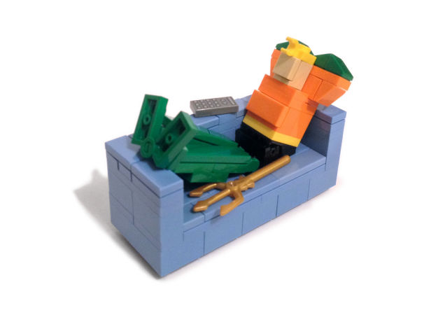 Optimus Prime, Batman, And Other Heroes Lounging On Lego Couches