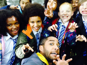 Danny and the kids in a selfie...see what I mean?